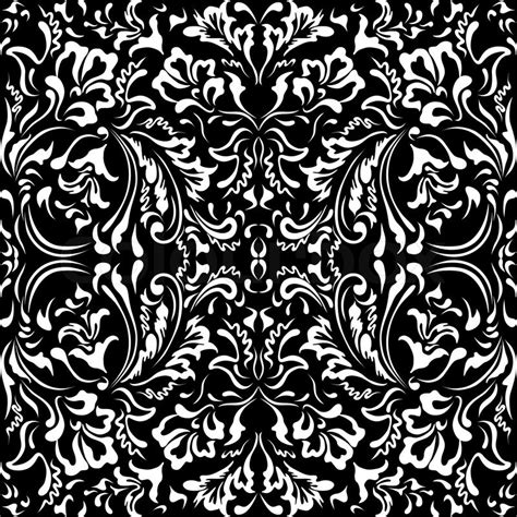 floral pattern black and white vector white floral pattern on a black background stock vector