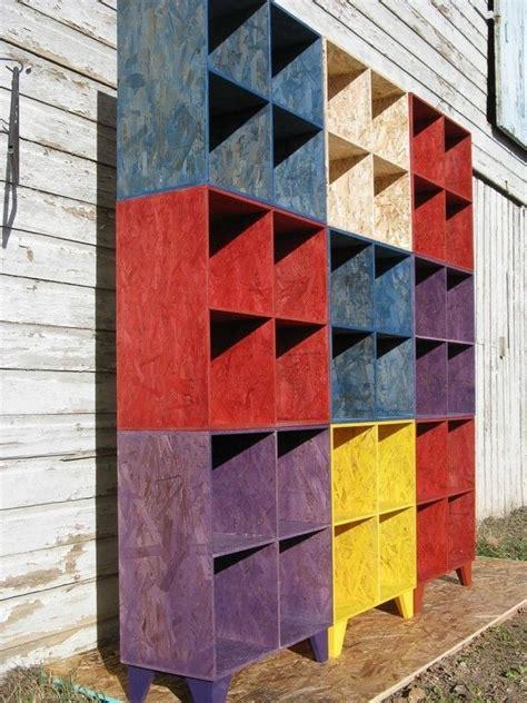 custom  osb cubby bookcase colors  modular osb