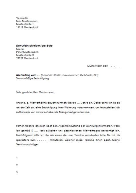 Muster Kündigung Mietvertrag Durch Den Vermieter Aufforderung An Mieter Gestattung Turnusgem 228 223 Er Besichtigung