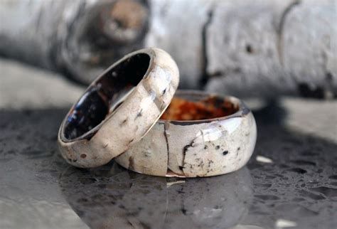 real birch bark ring ring birch wood rings