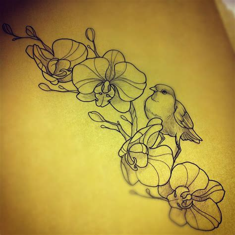 orchid sleeve tattoo designs bird with orchids drawing ideas bird and