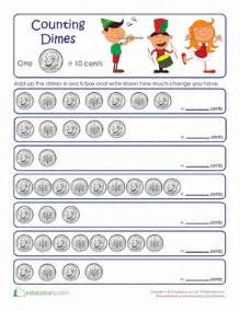 counting by tens dimes worksheet education com