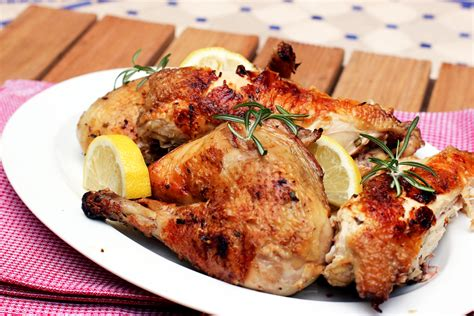 grilled rosemary chicken with roasted zucchini and potatoes cooking in sens
