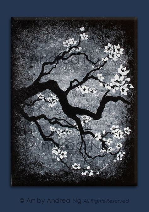 black background painting distant memories black and white cherry blossom