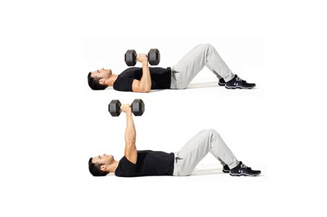 dumbbell bench press on floor workout for men and women fitness powerup