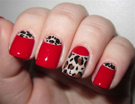 zoendout nails sassy  classy red leopard  moons