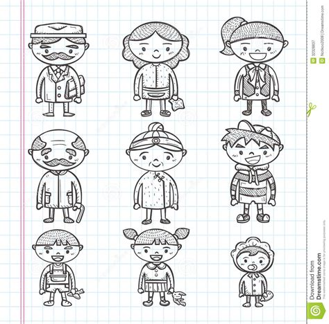 doodle drawing illustrator doodle family icons illustrator line tools drawin royalty