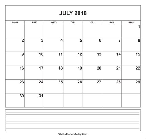 printable monthly calendar with space for notes calendar july 2018 with notes whatisthedatetoday com