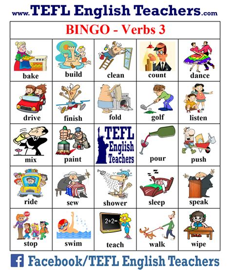 printable games with the verb to be tefl english teachers bingo verbs game board 3 of 20
