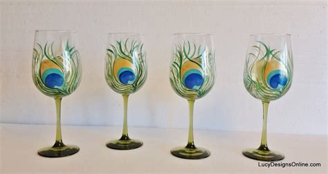 Stemware Wine Glasses Diy Painted Wine Glasses With Peacock Feather Design