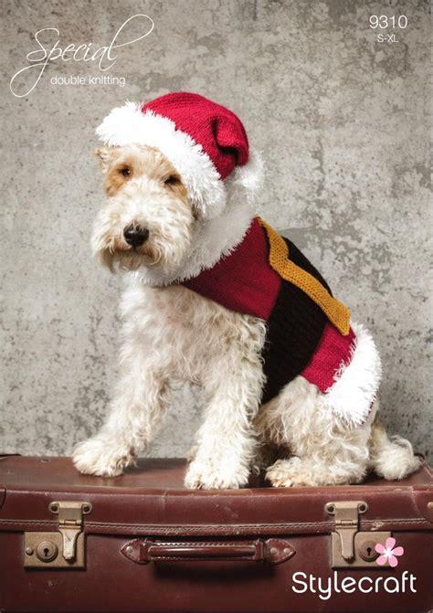 knitting pattern for christmas dog coat stylecraft 9310 knitting pattern santa dog coat and hat in