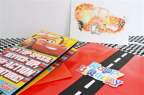 Race Track Gift Card - race track gift bag cars watercolor print eclectic momsense