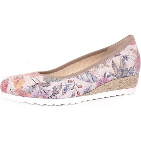 Wedges Flowers W 91 gabor epworth s floral print wide fit low wedge casual shoes