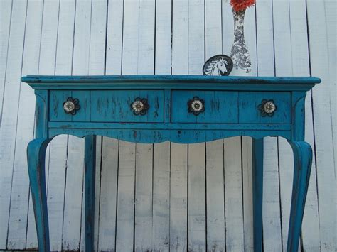 Turquoise Entry Table Wooden Desk Vanity Entry Way Table In Distressed Teal