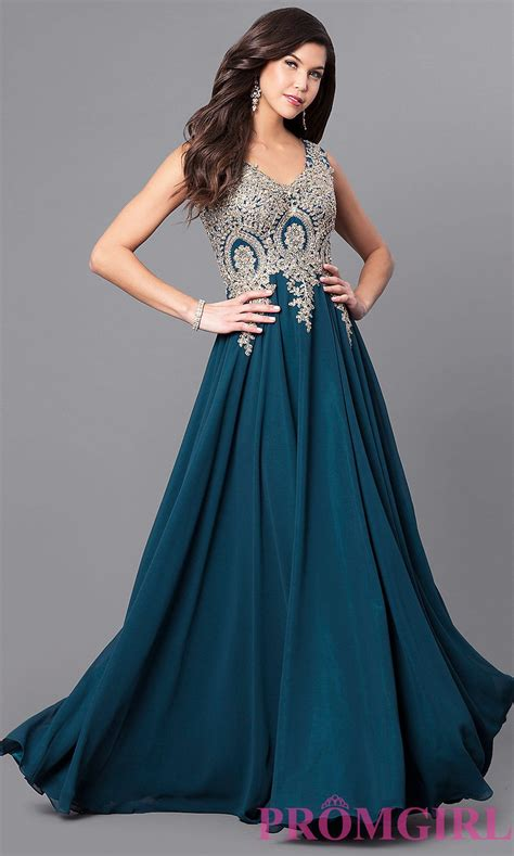 Lace Applique Long Chiffon Prom Dress   PromGirl