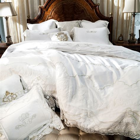 french bedding french egyptian cotton 800tc satin embroidery lace wedding