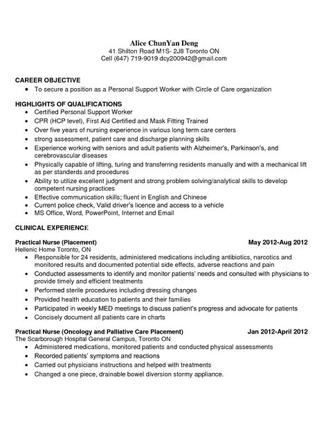 Personal Support Worker Sle Resume by Psw Resume The Best Resume