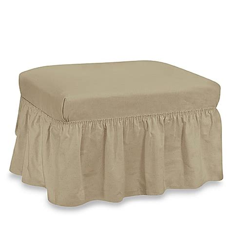 ottoman covers bed bath beyond duck solid 2 linen ottoman by sure fit 174 bed bath
