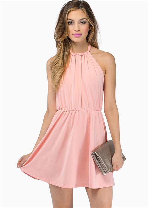 Simoneta Original Pink Dress Size 9 drawstring shirring halter backless chiffon dress on luulla