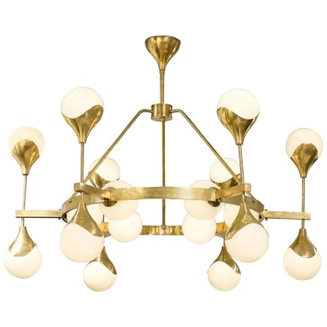 Murano Globe Glass And Textured Brass Chandelier For Sale Brass Chandelier