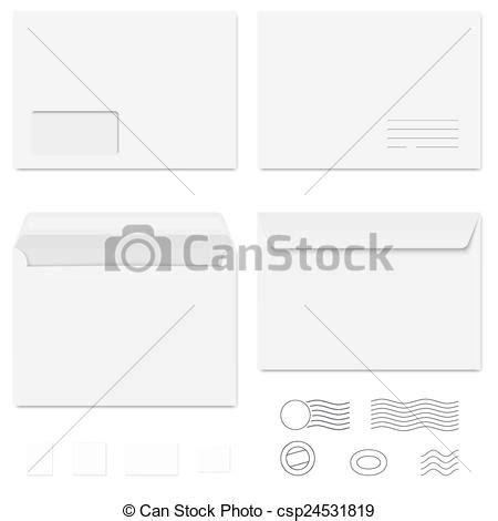 vector clip art of white envelopes / writing paper