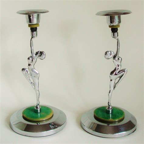 Chrome Candlestick Holders Pair Of Deco Chrome And Bakelite Bookended