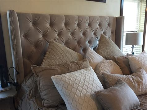 diamond tufted grey velvet wingback headboard king extra
