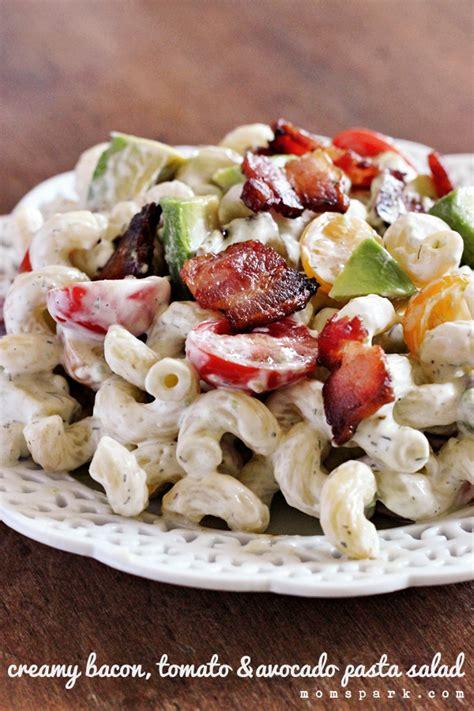 recipe for creamy bacon tomato and avocado pasta salad creamy bacon tomato and avocado pasta salad recipe mom
