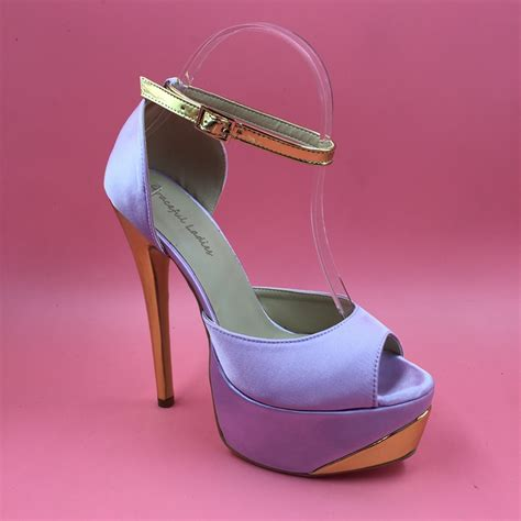 size 13 womens high heels lilac satin pumps platform heels peep toe ankle