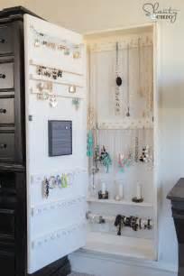 Jewelry Armoire Wall Mirror Diy Jewelry Organizer Shanty 2 Chic