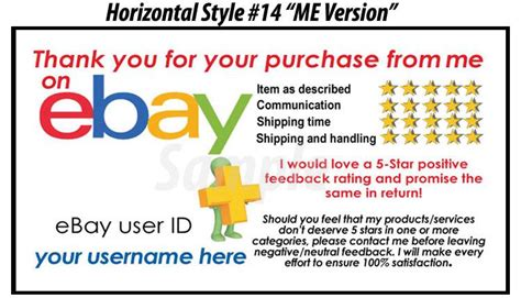 5000 Ds Uv Gloss Ebay Seller Custom 5 Star Dsr Reminder Thank You Business Cards Ebay Ebay Payment Reminder Template