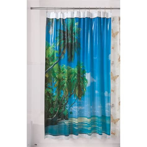 shower curtain plastic essential home shower curtain spanish tile blue vinyl