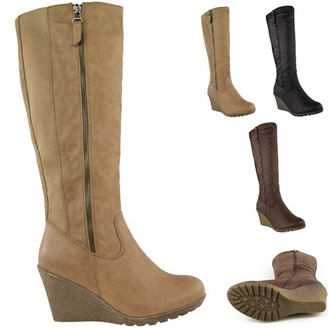 ladies long biker boots womens ladies wedge heel knee high mid calf wide leg