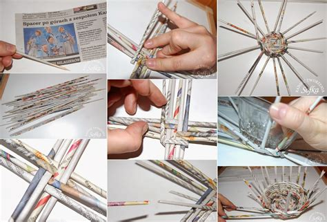 diy newspaper diy wicker basket using newspaper diy craft projects