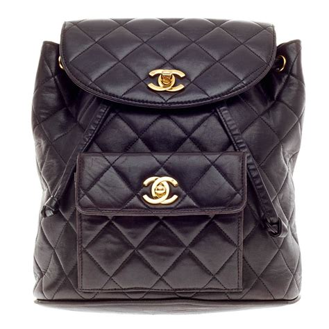 chanel vintage backpack quilted leather small at 1stdibs