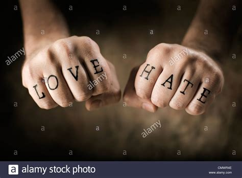 love and hate tattoos stock photos stock
