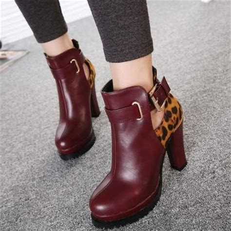 Boot Maroon Leopard burgundy chunky heel ankle boots with leopard print and cutout detailing on luulla