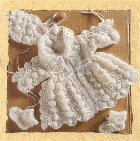 antique pattern library knitting vintage baby pippy shell matinee set bonnet by