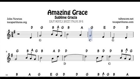 Recorder Notices Amazing Grace Easy Notes Sheet For Beginners In Treble Clef For Violin Flute
