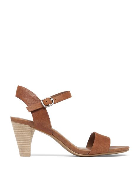 lucky sandals lyst lucky brand pepper leather high heel sandals in brown