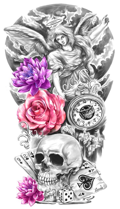 full sleeve tattoo design by crisluspotattoos on deviantart