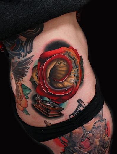 baseball rose tattoo classic phonorose gramophone by andres acosta