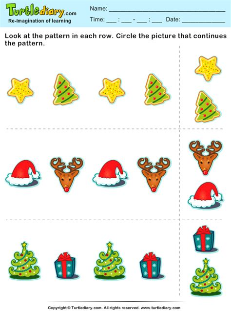 christmas pattern games christmas find the next pattern worksheet turtle diary