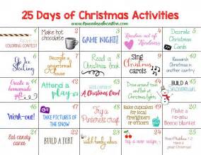 25 days of christmas activities advent calendar advent