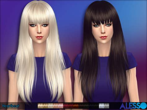 the sims 2 downloads fringe hairstyles long hair with fringe for females found in tsr category