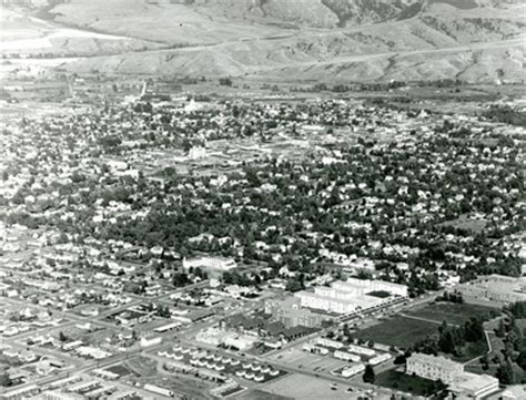 aerial view of montana state college campus with linfield