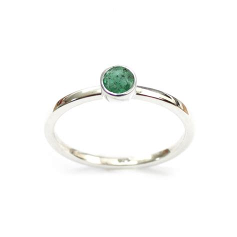 genuine emerald sterling silver stackable flat band