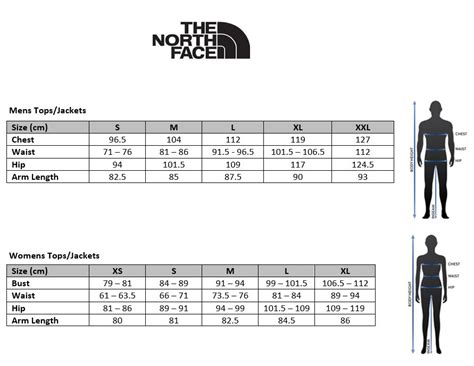 shoe size chart north face the north face apex bionic jacket sizing tips