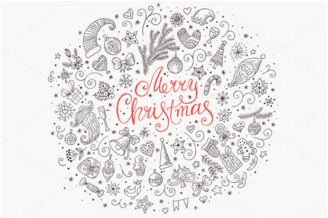 merry christmas doodle greeting card illustrations  creative market