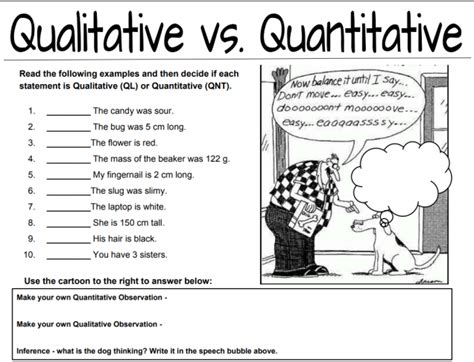 Qualitative Vs Quantitative Observations Worksheet by Middle School Science Free Lesson Plans And